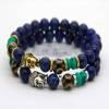 [REAPPRO EN COURS] Bracelet bouddha décoré Lapis-Lazuli 8 mm version argent