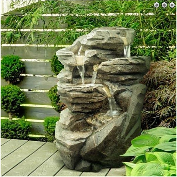 Grande fontaine cascade int rieur ext rieur avec clairage led - Fontaine d appartement zen ...