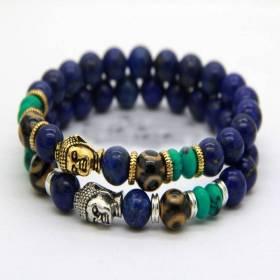 Bracelet yogi bouddha décoré Lapis-Lazuli 8 mm version argent