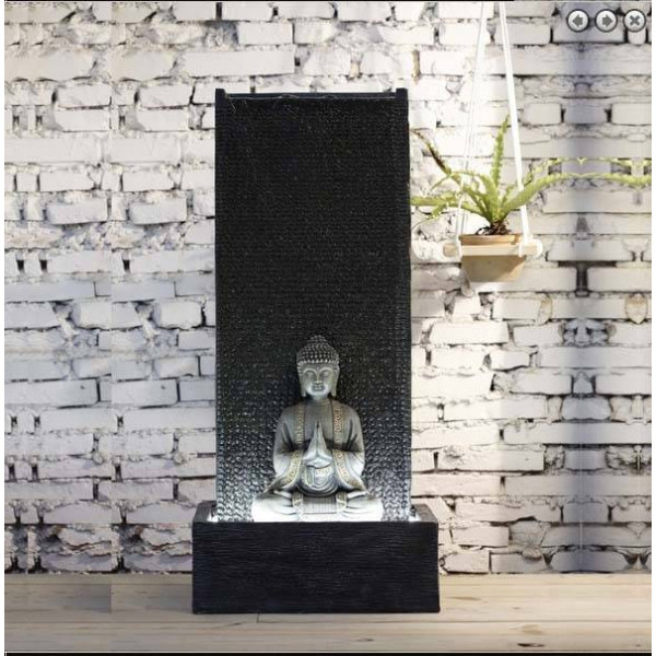 mur d 39 eau fontaine xl avec bouddha meditation et eclairage led. Black Bedroom Furniture Sets. Home Design Ideas