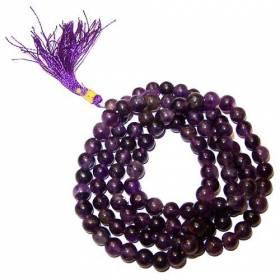 Authentique Mala tibétain 108 perles vrai Améthyste 8 à 8,5 mm Superbe