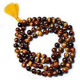 Art Mala tibétain 108 perles Oeil de tigre véritable
