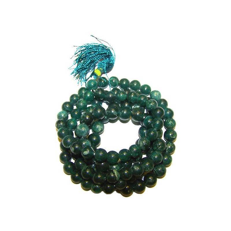 Art. Mala tibétain 108 perles de jade véritable 7,5 à 8 mm