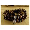 Authentique Mala tibétain 108 vrai perles Oeil de tigre 8mm. Superbe.