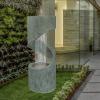Fontaine mur d'eau en spirale avec éclairage LED compatible intérieure et extérieure