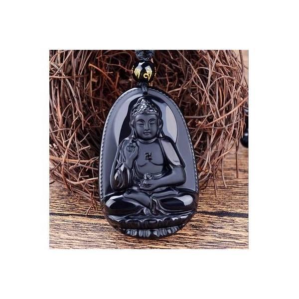 Pendentif Bouddha avec collier en perles Obsiddiennes noires