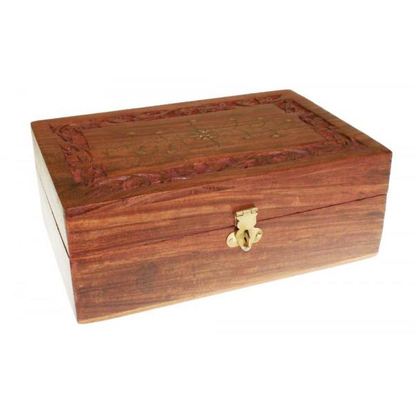 coffret de rangement 12 huiles essentielles 4 huiles massage en bois de palissandre. Black Bedroom Furniture Sets. Home Design Ideas