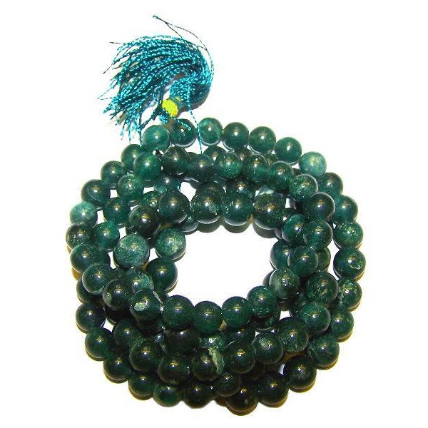 Art. Mala tibétain 108 perles de jade véritable 6 à 7 mm