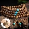 Authentique Mala tibétain 108 perles de bois décoré 8 mm