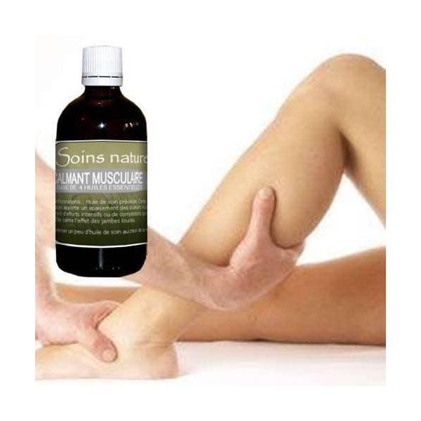 Huile de soin calmante pour les muscles à base d'huiles essentielles 100 ml
