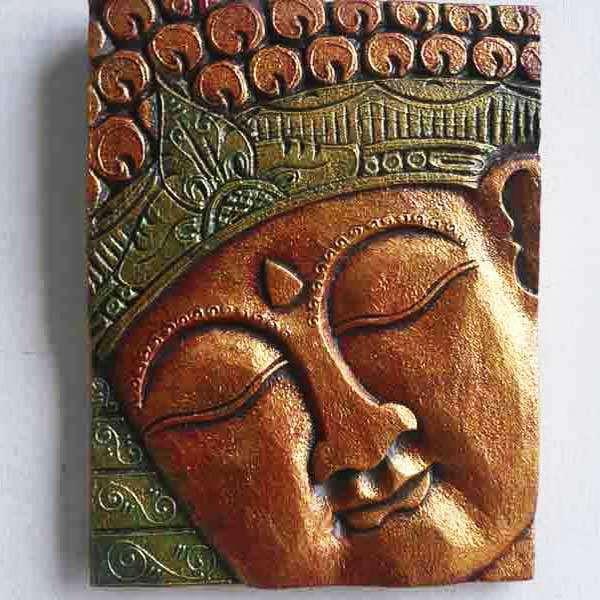 Tableau tête en bois peint sculpté 25 x 33 MODELE EXPO