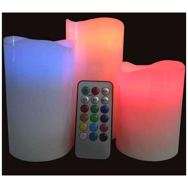 Lot 3 bougies LED à effet cire véritable + télécommande styles lumineux