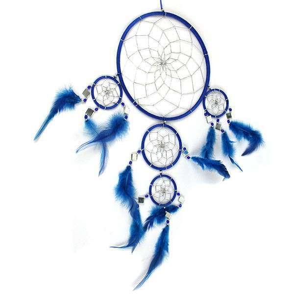 Capteur de rêves original bleu 63cm haut, tissé. Diam 22 - artisanal