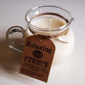 Bougie de massage relaxation à la cire liquide tiède et pot verseur en verre