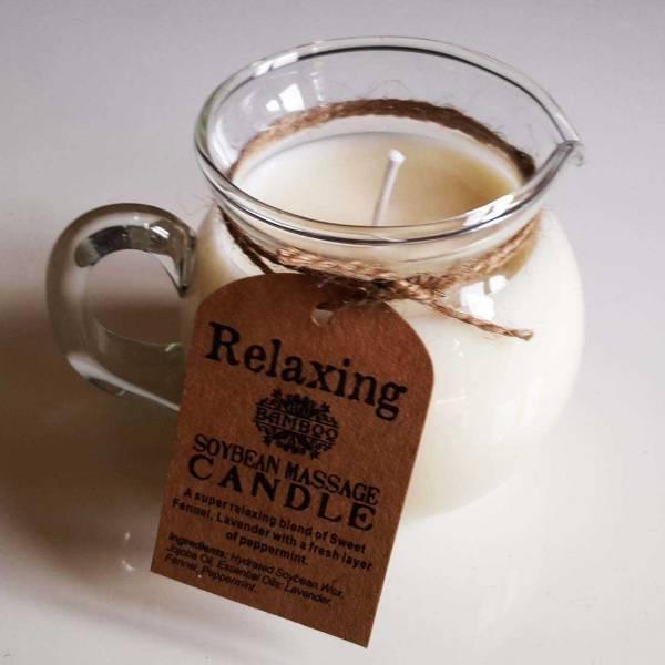 Bougie de massage sensuel à la cire de soja tiède et pot verseur en verre